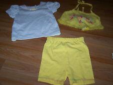 Size 2T 3 Piece Summer Outfit Short Set Shirt Halter Top & Shorts Small Steps