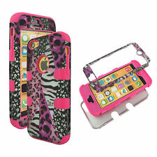 Hybrid Tuff Pink Leopard Zebra for Apple iPhone 5  Case Cover Snap on Protector
