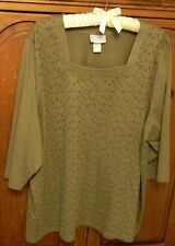 Liz and Me Tunic Plus Size 2X Olive Green With Embroidery C Pics 4 Measurements