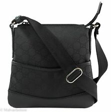 New GUCCI 374416 GG Small Canvas/Leather Crossbody Messenger Bag, Black
