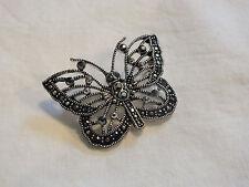 "Beautiful Brooch Pin Silver Tone Black Rhinestones Butterfly 2 x 1 1/2"" WOW"