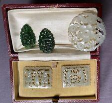 ANTIQUE CHINESE JADE JADEITE OLD PENDANT 1 -WHITE 2 -CELADON 2-GREEN