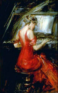 LMOP1288 100% handmade-painted playing Piano girl oil painting art on canvas