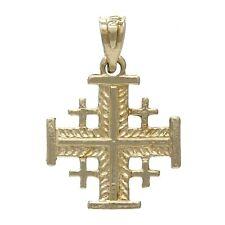 14k Yellow Gold Jerusalem Cross Charm Pendant 1.1 grams