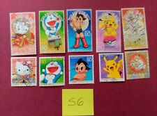 USED JAPAN STAMPS HELLO KITTY POKEMON PIKACHU DORAEMON ASTROBOY PHILANIPPON