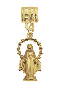 Nativity Virgin Mary Mother of Jesus 24K Yellow Gold Plated Charm European bead