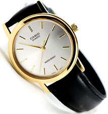 Casio MTP1095Q-7A Men's Analog Watch Black Leather Band Silver Gold Face New
