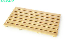 Natural Wood Rectangular Duck Board Bath Mat Set Bathroom Shower