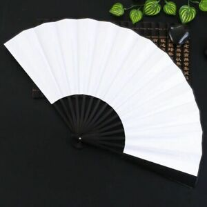 Handheld Hand Folding Fan Outdoor Dancing Bridals Wedding Party Fabric Wooden