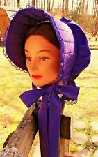 Civil War Dress Victorian Accessories Lady'S Deep Purple Cotton Slat~Sun Bonnet