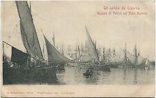 1902 Saluto da Livorno gruppo di velieri nel Molo Mediceo navi FP B/N ANIM VG