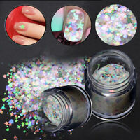 Rainbow Nail Sequins Flakes Star Moon Heart Round Nail Glitter Holographic Decor