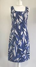 Boden Summer Leafy Casual Blue Fitted Pencil Dress UK 8