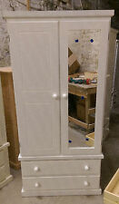 HAND MADE OXFORD 2 DOOR GENTS WARDROBE IN WHITE WITH 1 MIRROR READY ASSEMBLED