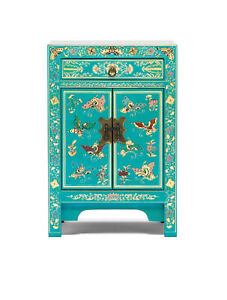 Oriental Teal Blue With Gold Leaf Bedside Cabinet Side Table