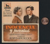 1937 Folding Alfred Hitchcock YOUNG AND INNOCENT Movie Herald Program Card Spain