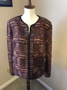 NWT Talbots jacket size 14P brown/ orange dry clean zipper in front MSRP $199