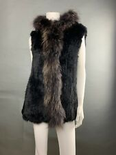 New Woman Vest With Hood Real Fur Rabbits Black Contrast Raccoon Trim SZ Large