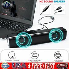 USB 2.0 Wired Computer Speaker Sound Bar 6W Desktop Stereo Soundbar PC Subwoofer