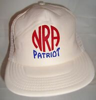 VTG NRA Patriot Mesh Trucker Hat Snapback Baseball Cap Satin Foam White