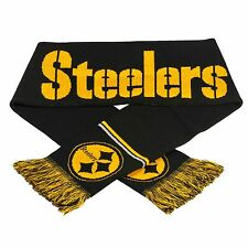 "Pittsburgh Steelers Scarf Knit Winter Neck NEW 65"" Metallic Thread Silver"