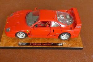 Red Burago 1:18 scale model of a 1987 Ferrari F40 standing on a wood effect base