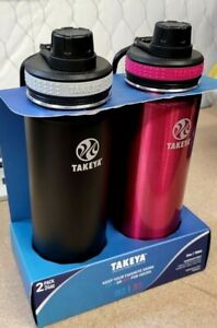 Takeya 24oz Originals Stainless Steel Bottle with Spout Lid 2pk - Black/Pink