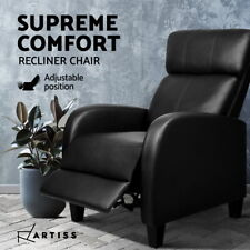 Artiss Recliner Chair Luxury Sofa Lounge Padded PU Leather Armchair Couch Black