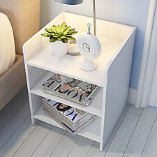 SINGLE / PAIR BEDSIDE NIGHT TABLE SMALL END TABLE STORAGE SHELF STAND UNIT 3TIER