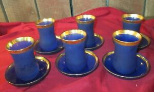 12 pcs Turkish Tea Glass Blue Serving Cups & saucers Pasabahce gold trim