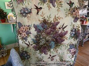 Whisper Wings Hummingbirds Tapestry Afghan Throw Lena Liu Psalm 91:4