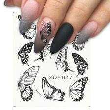 Nail Art Water Decals Transfers Stickers Black Butterfly Butterflies STZ1017