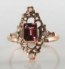 LOVELY 9CT ROSE GOLD VICTORIAN PINK TOURMALINE & OPAL RING FREE RESIZE