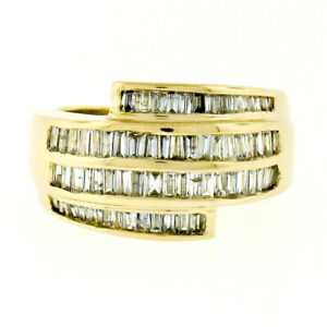 Statement 14k Yellow Gold 2.10ctw Tapered Baguette Diamond Wide Wrap Band Ring