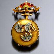 Art Nouveau Enamel & Pearl Enhanced Lady's 18K Gold Pendant Watch CA1890