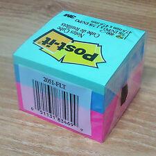 """3M Post-it 2051-FLT Cube 1.87x1.87"""" 47.6mm Notes Notas Paste Memo Pads 400 Sheet"""