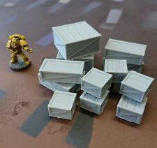 *SCENERY* 14 28mm wooden crates, 40K, Necromunda, Malifaux Bolt Action Warhammer