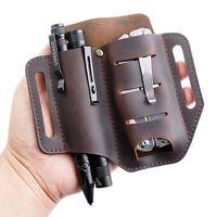 Multifunction EDC Leather Sheath Waist Holster Belt Loop Organizer Pouch Pack AU