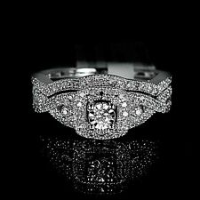 New Ladies White 10K Gold Genuine Real Diamond Ring Engagement Wedding Duo Set