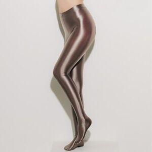 LEOHEX Nylon Glitter Sexy Stockings Satin Glossy Opaque Pantyhose Shiny Women's