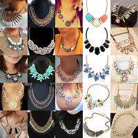 Fashion Jewelry Crystal Chunky Statement Bib Pendant Chain Choker Necklace  HOT