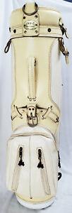 Rare Vintage 1990s White Leather Arnold Palmer Hot Z Golf Cart Bag