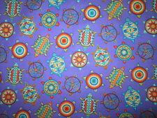 Navajo Indian Totem Turtle Beaded Like Dream Catcher Purple Cotton Fabric FQ