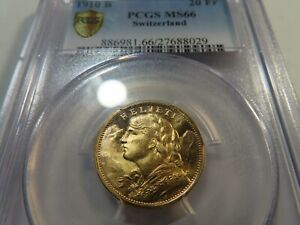 A3 Switzerland 1910-B GOLD 20 Francs PCGS MS-66 Tied for Finest