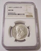 South Africa 1897 Silver 2 Shillings AU58 NGC