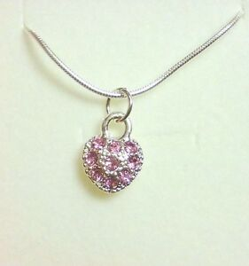 Pink Crystal Heart Necklace Flower Girl Bridesmaid Birthday Christmas Gift