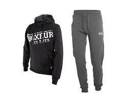 BOXEUR DES RUES Fight Activewear, Completo Tuta da Uomo, Nero, L (V6S)