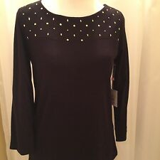 Womens RAFAELLA Solid Black 3/4 Sleeve 100% Cotton Knit Shirt Top Sz M $58 New
