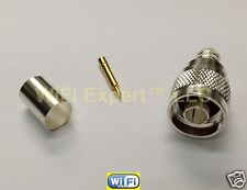 10 Silver N Male Crimp Coax Connector LMR400 LMR-400 Belden 9913 RG8 RG213