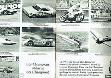PUBLICITE ADVERTISING 026  1968   Champion  bougies voitures bateaux avions (2p